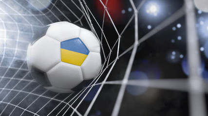 Realistic soccer ball in the net with the flag of Ukraine.(series)