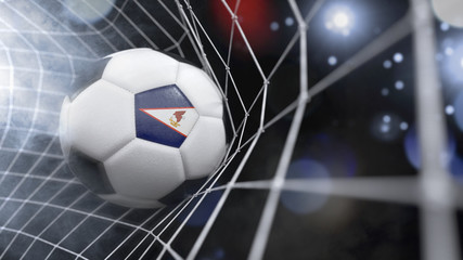 Realistic soccer ball in the net with the flag of American Samoa.(series)