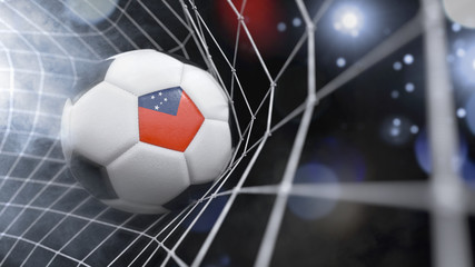 Realistic soccer ball in the net with the flag of Samoa.(series)