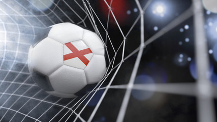 Realistic soccer ball in the net with the flag of Alabama.(series)