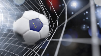 Realistic soccer ball in the net with the flag of Alaska.(series)