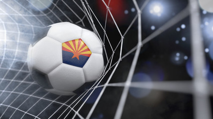 Realistic soccer ball in the net with the flag of Arizona.(series)