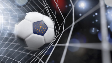 Realistic soccer ball in the net with the flag of Indiana.(series)