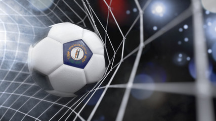 Realistic soccer ball in the net with the flag of Kentucky.(series)