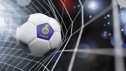 Realistic soccer ball in the net with the flag of Kansas.(series)