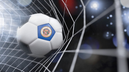 Realistic soccer ball in the net with the flag of Minnesota.(series)