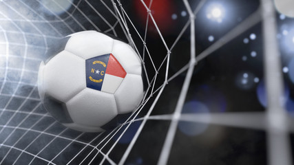 Realistic soccer ball in the net with the flag of North Carolina.(series)