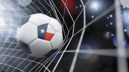 Realistic soccer ball in the net with the flag of Texas.(series)