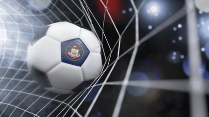 Realistic soccer ball in the net with the flag of Utah.(series)