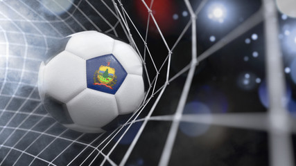 Realistic soccer ball in the net with the flag of Vermont.(series)
