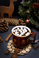 mug with hot chocolate and small white marshmallow slices