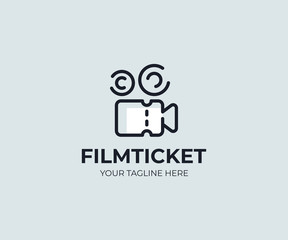 Cinema ticket logo template. Video camera and movie ticket vector design. Theatre ticket and camcorder logotype