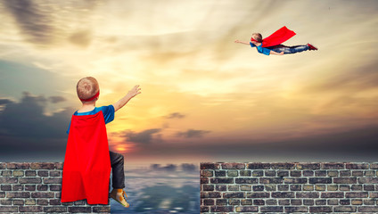 Children in superhero costumes guard the order in the city