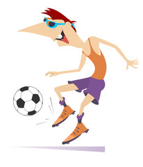 Smiling young man playing football isolated illustration. Cartoon laughing football player kicks a ball isolated on white illustration