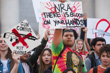 Students from schools across Los Angeles attend a nationwide protest on the 19th anniversary of the Columbine school shooting in Los Angeles