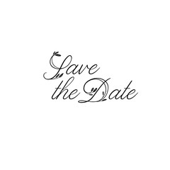 Save the Date hand lettering inscription. Modern Calligraphy Greeting Card. Vector. Isolated on White Background