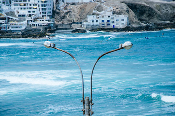 Lamp post on the beach