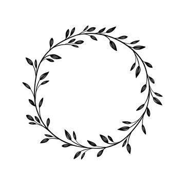 Hand drawn vector frame. Floral wreath for your text. Decorative elements for design. Vintage and rustic styles