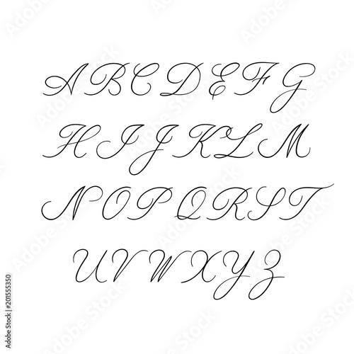 Calligraphy alphabet  Decorative handwritten brush font