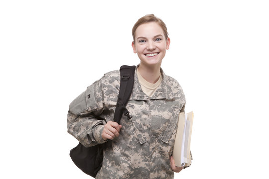 Female soldier with backpack and file