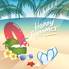 White sunglasses, coconut juice, pink inflatable ring and flip flops , summer items on the beach