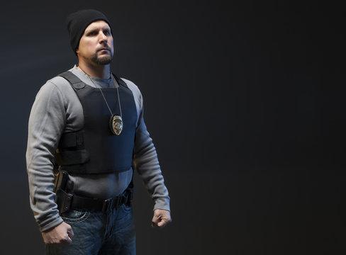 Law Enforcement Agent Studio Shoot with copy space.