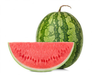 watermelon with slice isolated on white background