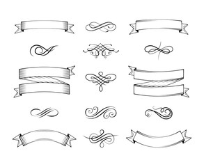 Blank vintage announcement ribbons set with swirl decoration isolated