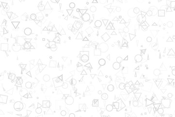 Black & white backgroud with gray random shapes, for graphic design. Round, color, triangle & style.
