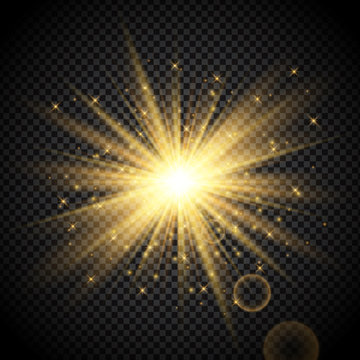 Gold starburst on transparent background