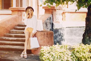 Blonde at shopping