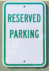 Reserved parking sign with room for copy text