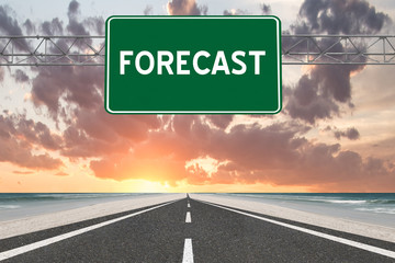 Forecast Highway Sign on Sunset Background