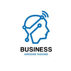 smart human head logo, Digital human vector logo concept , Human head with digital technology logo