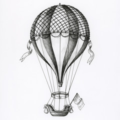 Hand drawn hot air balloon isolated on background