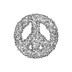 peace sign leaf icon