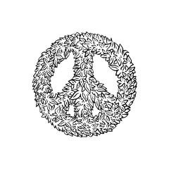peace sign leaf icon