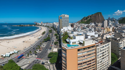 Fototapete - Panoramic View of Buildings in Front of the Copacabana Beach in Rio de Janeiro, Brazil