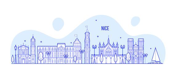 Nice skyline, France city buildings vector