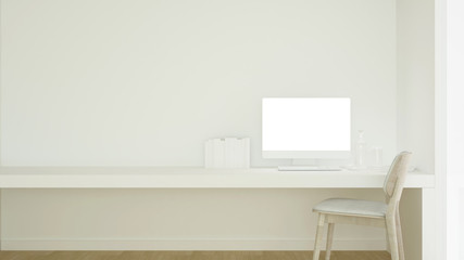 Workplace and empty space in condominium or small office - Study room white tone artwork for apartment or home office - 3D Rendering