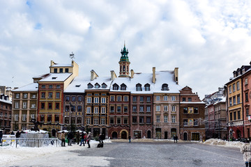Snow in Market Square in old town Warsaw, Poland