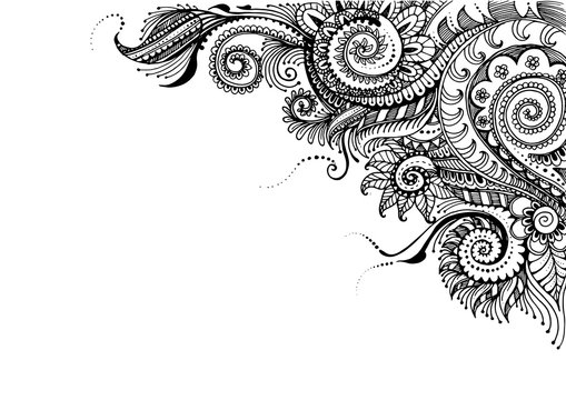Hand Drawn floral background with detailed frame