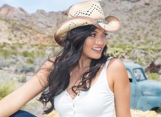 Pretty Hispanic Girl outside in desert