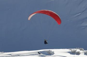 Foto op Canvas Luchtsport Gleitschirmflieger beim Nebelhorn, 2224m, Oberstdorf, Oberallgäu, Bayern, Deutschland, Europa