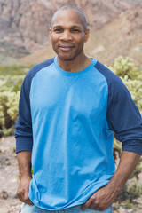 Handsome, mature African American man in the desert
