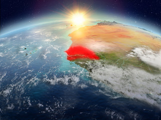 Senegal from space in sunrise