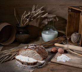 still life cheesecake croissant Breakfast kitchen pie dough flour kitchen egg tea bread butter milk village