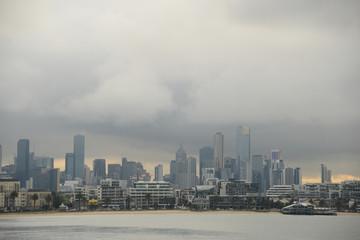 Melbourne skyline on gloomy day