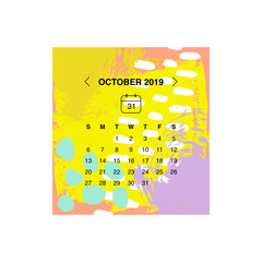 Vector illustration, calendar 2019 design concept.