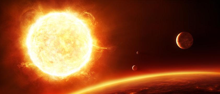 Große Sonne mit Planeten